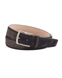 Magnanni Anthumington Square Buckle Suede Belt Gray