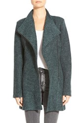 Women's Matty M Fuzzy Asymmetrical Zip Fit And Flare Coat