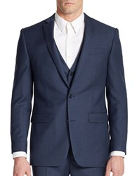 Tallia Orange Slim Fit Two Button Woven Wool Blazer Blue