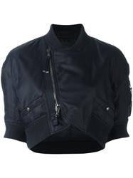 Diesel Black Gold 'Woco' Cropped Bomber Jacket Blue