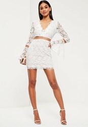 Missguided White Lace Flare Sleeve Bodycon Dress