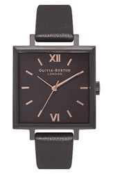 Olivia Burton Women's Big Square Leather Strap Watch 30Mm Black Rose Gold