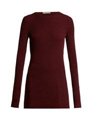 Bottega Veneta Ribbed Cashmere Sweater Burgundy