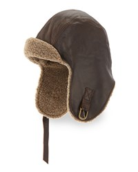 Neiman Marcus Vintage Leather Aviator With Faux Fur Brown