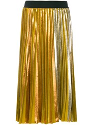 Nude Mid Length Pleated Skirt Polyester Yellow Orange