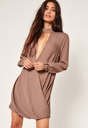 Missguided Choker Neck Wrap Front Dress Brown