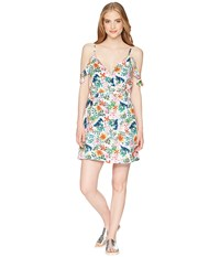 Roxy Currently Drifting Bright White Floral Soiree Dress Multi