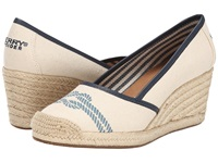 Sperry York Nautical Not Ivory Navy Women's Wedge Shoes White