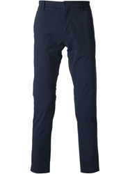 Msgm Cropped Chino Trousers Blue
