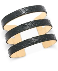 Thalia Sodi Gold Tone Snake Look Embossed Faux Leather Cuff Bracelet Only At Macy's Black