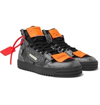 Off White Court Textured Leather Suede And Canvas High Top Sneakers Black