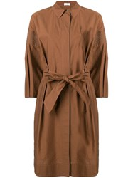 Brunello Cucinelli Bow Detail Shirt Dress Brown