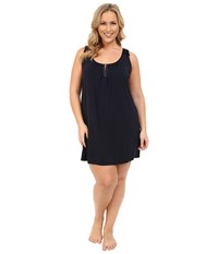 Midnight By Carole Hochman Plus Size Modal Chemise With Satin Midnight Women's Pajama Navy
