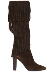 Saint Laurent 100Mm Lily Fringed Suede Boots