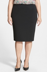 Halogen Zip Back Knit Pencil Skirt Plus Size Black