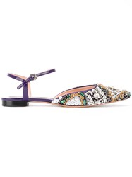 Rochas Pointed Embellished Flat Shoes Pink Purple
