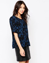 Ichi Printed Top In Majolica Blue Majolica Blue