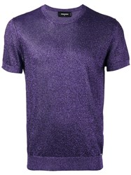 Dsquared2 Short Sleeve Lurex Knit Metallic