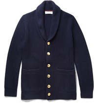 Brunello Cucinelli Shawl Collar Ribbed Wool Cashmere And Silk Blend Cardigan Navy