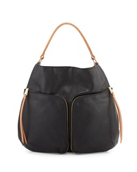 Christopher Kon Double Front Pocket Hobo Bag Black