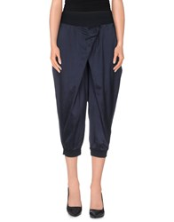 European Culture Trousers 3 4 Length Trousers Women Dark Blue