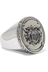 Givenchy Embossed Silver Tone Crystal Ring Silver