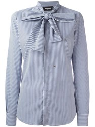 Dsquared2 Pinstripe Pussy Bow Shirt Blue