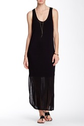 Riller And Fount Keith Sleeveless Side Slit Striped Maxi Dress Black