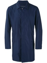 Pal Zileri Collared Rain Coat Men Polyester 46 Blue