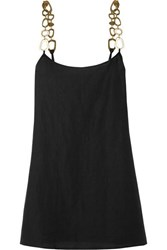 Solid And Striped Chain Embellished Linen Blend Mini Dress Black