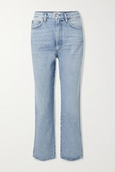 Agolde Pinch Waist Cropped Distressed High Rise Flared Jeans Mid Denim
