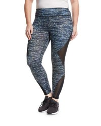 X By Gottex Diamond Mesh Inset Performance Leggings Multi