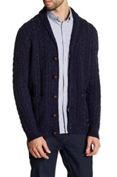 Barque Shawl Collar Tweed Knit Cardigan Blue