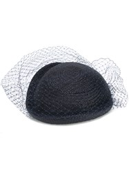 Federica Moretti Veil Embellished Woven Hat Women Polyamide Polyester Straw One Size Blue