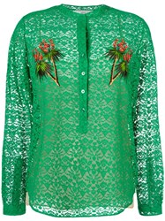Stella Mccartney Lace Embroidered Tree Shirt Green