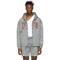 Telfar Grey Cut In Tour Zip Hoodie