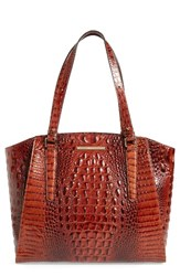Brahmin 'Paris' Croc Embossed Leather Tote Brown Pecan