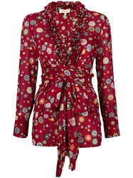 Romeo Gigli Vintage Floral Ruffled Jacket Red