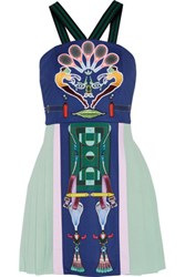 Adidas Originals Mary Katrantzou Mesh Paneled Printed Crepe Mini Dress Mint