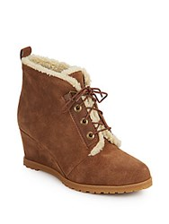 Ellen Tracy Torino Faux Fur Trimmed Suede Wedge Booties Brown
