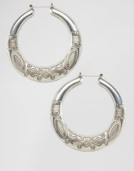 Ny Lon Nylon Etched Hoop Earrings Silver