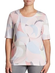 Basler Plus Size Abstract Print Jersey Tee Sky Blue