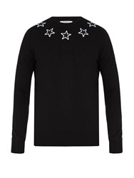 Givenchy Star Applique Wool Sweater Black