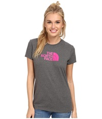 The North Face S S Half Dome Tee Charcoal Grey Heather Glo Pink Women's T Shirt Gray