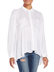 Saks Fifth Avenue Red Ruffle Hem Blouse White
