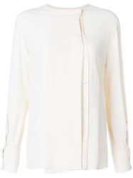 Mauro Grifoni Off Centre Button Blouse Nude And Neutrals