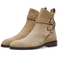 Acne Studios Julian Suede Buckle Ankle Boot Neutrals