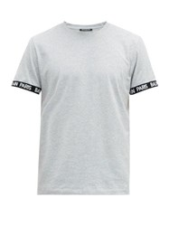 Balmain Logo Cuff Cotton Jersey T Shirt Grey