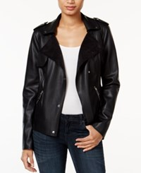 Bar Iii Faux Leather Trench Moto Jacket Only At Macy's Deep Black