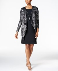 Jessica Howard Metallic Lace Layered Look Dress Black Silver